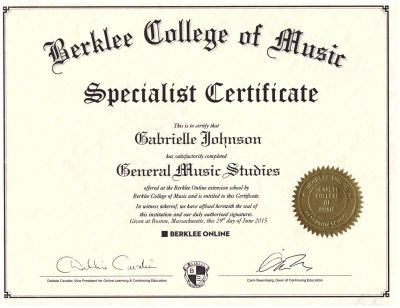 Music Specialist Certificate from Berklee College of Music