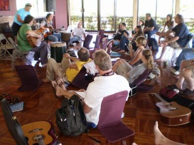 Costa Rica songwriting workshop..musicians from the USA