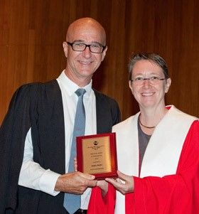 Presented with the AMEB 25 Year Examiner's Service Award, at the inaugural annual AMEB Diploma Presentation Ceremony (Sir John Clancy Auditorium, University of New South Wales (UNSW)), on 13 March 2016 by Professor Anna Reid, Acting Dean and Principal, Sydney Conservatorium of Music / Acting State Chairperson AMEB (NSW), Dr Rita Crews OAM, Deputy Chairperson AMEB (NSW) and Ms Maree Lucas, AMEB NSW State Manager.